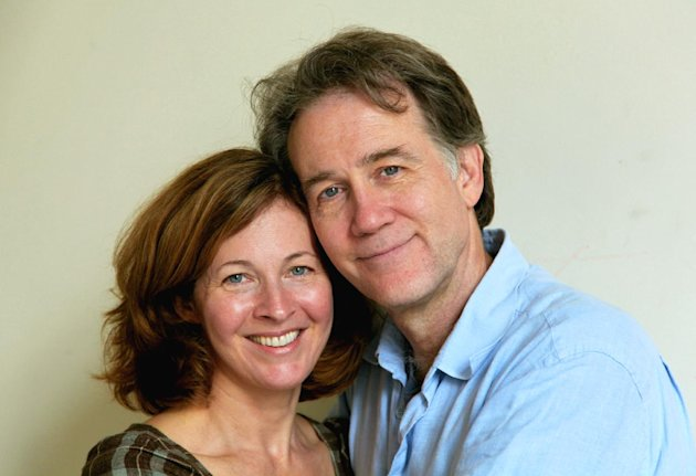 This Aug. 22, 2012, photo shows the actors Boyd Gaines and Kathleen McNenny after rehearsals in New York for their new play, Manhattan Theatre Club&#39;s &quot;An Enemy of the People.&quot; Gaines and McNenny met 20 years this summer and went on to marry, but they rarely get to act together. Now they do and even get to play a married couple as well. (AP Photo by Mark Kennedy)