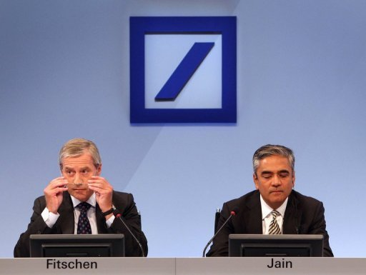 &lt;p&gt;Deutsche Bank&#39;s co-CEOs Anshu Jain (right) and Juergen Fitschen at a news conference in Frankfurt last month. Germany&#39;s biggest bank, has notched up a better-than-expected performance in the third quarter boosted by improved market conditions.&lt;/p&gt;