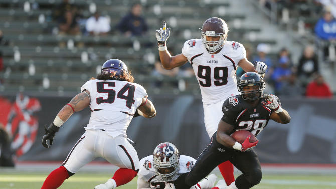 IMAGE DISTRIBUTED BY AP IMAGES FOR NFLPA- National team running back Eric Stephens Jr. (28) of Texas Tech is brought down by American team safety Orhian Johnson (28) of Ohio State while Jordan Campbell (54) of New Mexico Highlands and Shane McCardell (99) of Mississippi State pursue during the NFLPA Collegiate Bowl on Saturday, Jan. 19, 2013 in Carson, Calif. (Ric Tapia/AP Images for NFLPA)