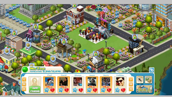 """This screen shot provided by Zynga, shows the Facebook game CityVille. Starting Tuesday, Oct. 4, 2011, """"CityVille"""" players on Facebook will be able to interact with Enrique Iglesias's character when he visits their cities. They'll get to collect items the singer is known for and watch previews of his newest music video. (AP Photo/Zynga)"""