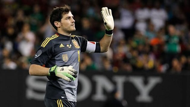 Iker Casillas #1 of Spain salutes the crowd after the game against the Republic of Ireland (AFP)