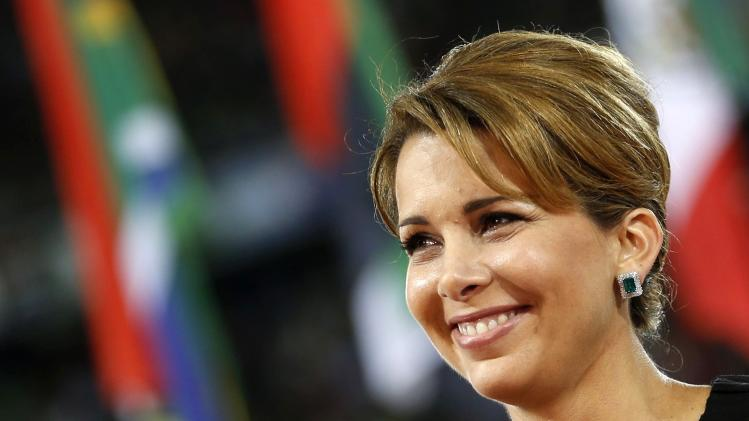 Jordan's Princess Haya bint Hussein, President of the International Equestrian Federation delivers her speech during the opening ceremony of the world Equestrian Games at the d'Ornano stadium in Caen