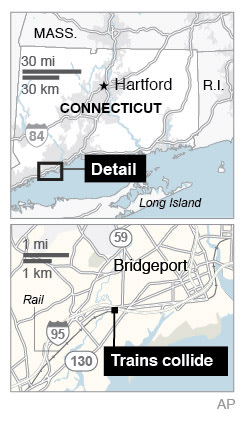 Map locates Bridgeport, Conn