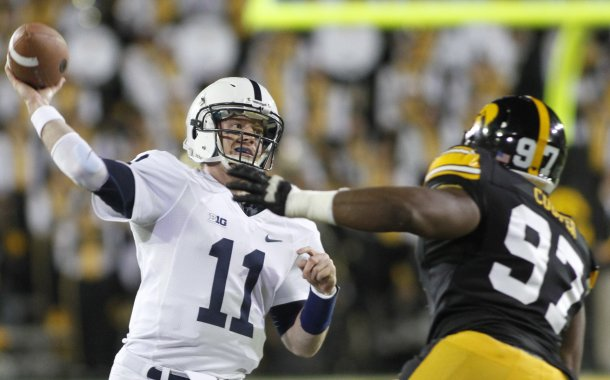 Penn State's Matt McGloin leads the Big 10 in passing yards with 255 per game. (Getty Images)