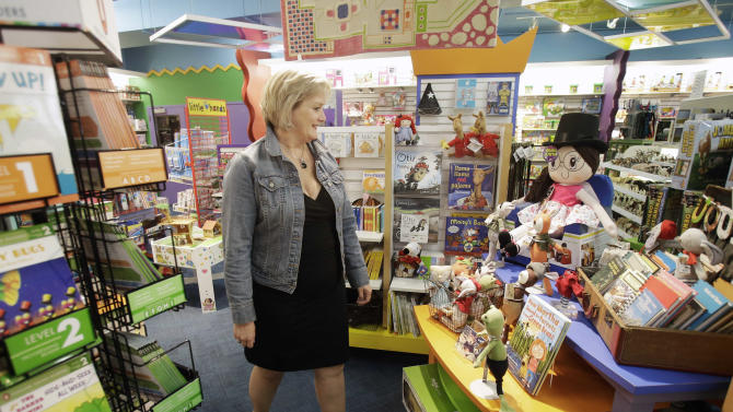 In this photo taken Tuesday, May 14, 2013, Roberta Bonoff, owner of Creative Kidstuff, a toy store chain, poses at the store in St. Paul, Minn.  The toy retailer based in Minneapolis, just expanded by buying a 26-year-old online and catalog toy retailer, Sensational Beginnings.  Bonoff said the owner was tired and ready to sell. (AP Photo/Jim Mone)