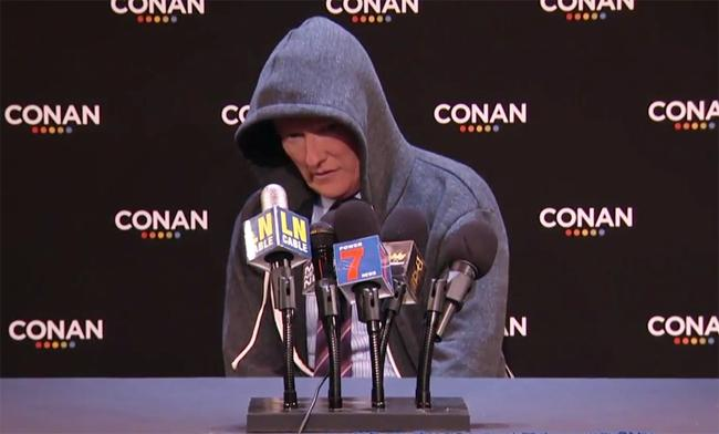 Conan Went Ahead And Parodied Cam Newton's Press Conference With One Of His Own