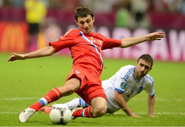 Russian Midfielder Alan Dzagoev (L) Shoots AFP/Getty Images