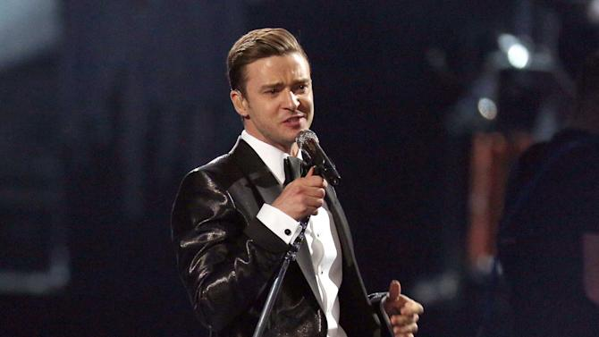 """FILE - This Feb. 20, 2013 file photo shows Justin Timberlake during the BRIT Awards 2013 in London. Timberlake's """"Mirrors,"""" was the most viral track on Spotify, based on the number of people who shared it divided by the number who listened to it, from Monday, Feb. 18, to Sunday, Feb. 24.  (Photo by Joel Ryan/Invision/AP, file)"""