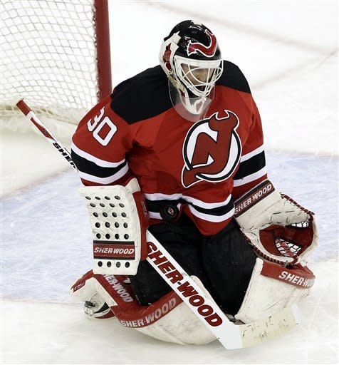 Brodeur nets playoff shutout mark; Devils win 4-0