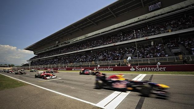 Red Bull Formula One driver Sebastian Vettel of Germany starts the Spanish F1 Grand Prix at Circuit de Catalunya