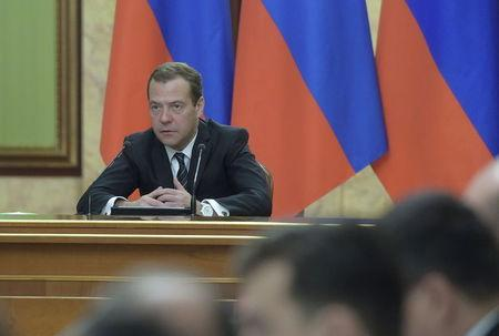 Russian PM Medvedev chairs a meeting with government members and other officials in Moscow