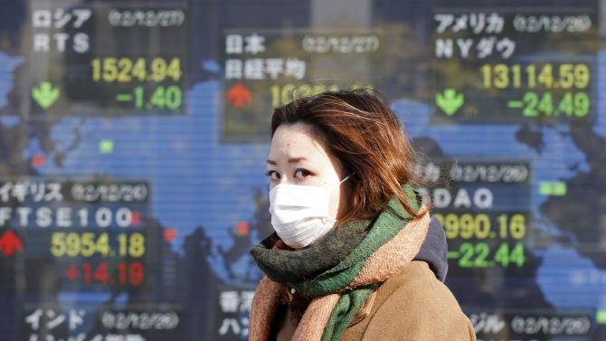 A woman walks by an electronic stock board of a securities firm in Tokyo, Thursday, Dec. 27, 2012. Asian markets have risen amid optimism that Japan's new leaders will stimulate its sluggish economy. (AP Photo/Koji Sasahara)