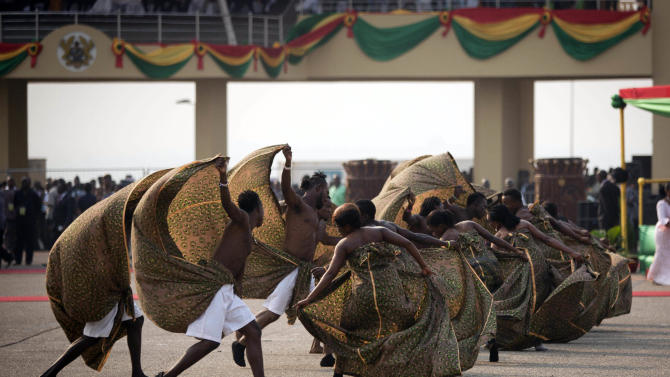 Dancers perform at Independence Square ahead of the inauguration ceremony of President-elect John Dramani Mahama, in Accra, Ghana, Monday, Jan. 7, 2013. Ghana's President John Dramani Mahama was sworn in Monday for a new four-year term in the West African nation's capital of Accra after winning a closely fought election in December. (AP Photo/Gabriela Barnuevo)