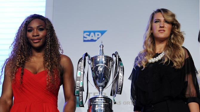 Tennis stars Serena Williams of the U.S, left, and Victoria Azarenka of Belarus pose during a meeting with the media in Istanbul, Turkey, Sunday, Oct. 20, 2013. World's top tennis players will compete in the TEB BNP Paribas WTA Championships in Istanbul, Oct. 22-27.(AP Photo)