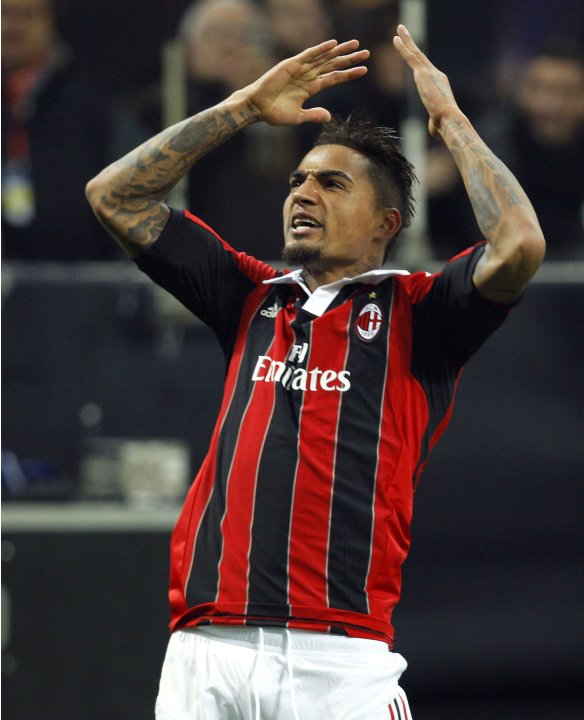 AC Milan's Boateng reacts after scoring against Barcelona during their Champions League soccer match at the San Siro stadium in Milan