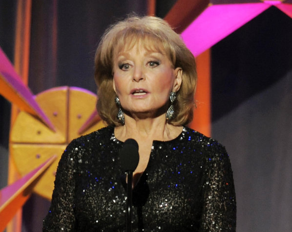FILE - This June 23, 2012 file photo shows Barbara Walters presenting an award onstage at the 39th Annual Daytime Emmy Awards in Beverly Hills, Calif. Walters, who has been battling the Chicken Pox, will not return to her daytime talk show &quot;The View,&quot; for three more weeks. She was hospitalized on Jan. 19 after fainting and cutting her head at a pre-inaugural party in Washington. (Photo by Chris Pizzello/Invision/AP, file)