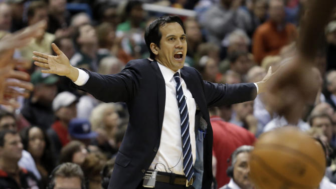 Miami Heat head coach Erik Spoelstra reacts during the second half of Game 3 in their first-round NBA basketball playoff series against the Milwaukee Bucks, Thursday, April 25, 2013, in Milwaukee. (AP Photo/Morry Gash)