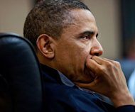 US President Barack Obama listens during a discussion on the mission against Osama bin Laden, in the Situation Room of the White House in Washington, DC on May 1, 2011. Obama's top adviser on terrorism has brushed aside criticism by the president's political opponents that he has exploited this week's one-year anniversary of bin Laden's killing for political gain
