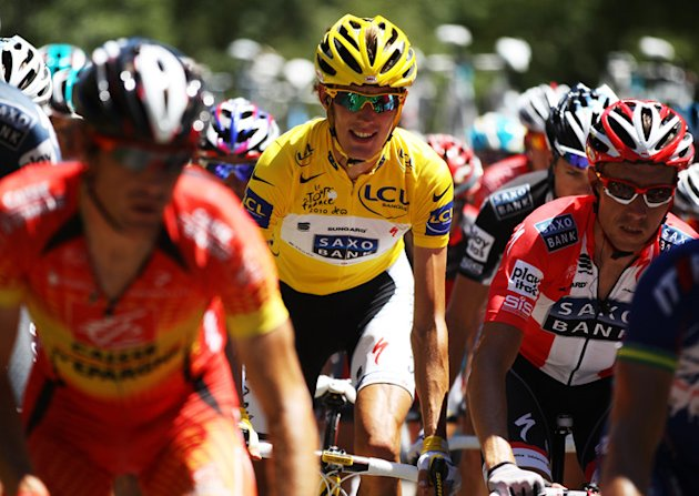 )  Yellow Jersey Holder Andy Schleck Of Luxembourg And Team Saxo Bank Rides Getty Images