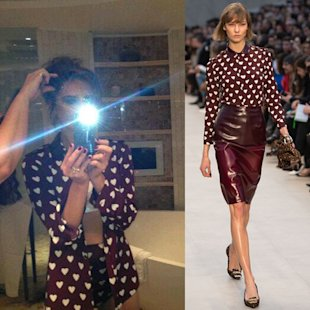 Victoria Beckham flashes some flesh in heart print Burberry shirt