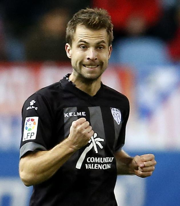 Levante's Andreas Ivanschitz celebrates his goal against Atletico Madrid during their Spanish first division soccer match in Madrid