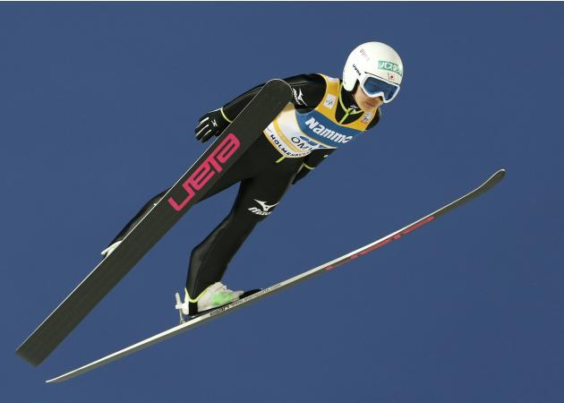 Takanashi of Japan participates during the women's ski jumping event at the Holmenkollen World Cup