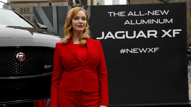 Actress Christina Hendricks helps to unveil the new Jaguar 2016 XF Sedan at Flatiron Square on Tuesday, March 31, 2015, in New York. (Photo by Andy Kropa/Invision/AP)
