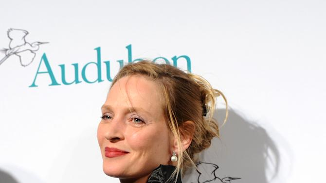 Uma Thurman attends The National Audubon Society's first gala to jointly award the Audubon Medal and the inaugural Dan W. Lufkin Prize for Environmental Leadership, Thursday, Jan. 17, 2013, in New York.  (Photo by Diane Bondareff/Invision for The National Audubon Society/AP Images)