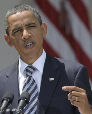 President Barack Obama delivers a statement in the Rose Garden of the White House in Washington, Tuesday, Aug. 2, 2011, following the Senate's passing of the debt ceiling agreement. (AP Photo/Susan Walsh)