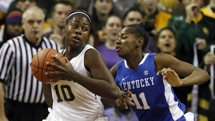 Baylor's Destiny Williams (10) looks for an opening against Kentucky's DeNesha Stallworth (11) during the first half of an NCAA women's college basketball game, Tuesday, Nov. 13, 2012, in Waco, Texas. (AP Photo/Tony Gutierrez)