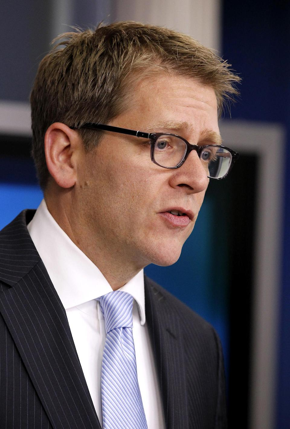 White House Press Secretary Jay Carney speaks during his daily briefing, Tuesday, Jan. 3, 2012, in the White House's Brady Briefing Room in Washington. (AP Photo/Haraz N. Ghanbari)