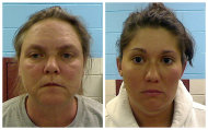 This combo made from photos released by the Etowah County Sheriff's Dept. on Wednesday, Feb. 22, 2012 shows Joyce Hardin Garrard, 46, left, and Jessica Mae Hardin, 27. Garrard and Hardin, grandmother and stepmother of a 9-year-old Alabama girl who died after witnesses said she was forced to run for three hours as punishment for lying, have been charged with murder and are being held in jail. (AP Photo/Etowah County Sheriff's Office)