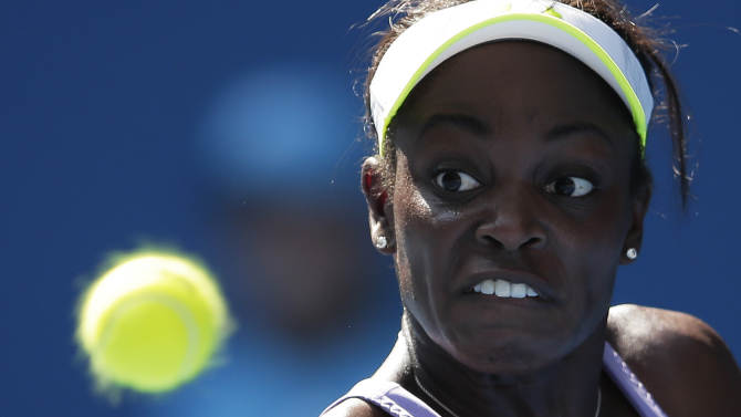 Sloane Stephens of the US eyes the ball during her fourth round match against Serbia's Bojana Jovanovski at the Australian Open tennis championship in Melbourne, Australia, Monday, Jan. 21, 2013. (AP Photo/Rob Griffith)