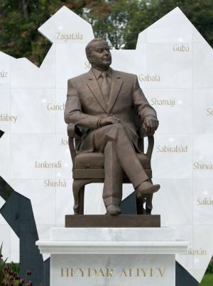 A life-size bronze statue of late Azerbaijan president Geidar Aliev is seen on Mexico City's main boulevard, Reforma Avenue, Monday, Oct. 1, 2012. Mexican protesters say that a man who ruled such a far-away land with such a heavy hand shouldn't be on a boulevard decorated with statues to Mexican and foreign heroes. (AP Photo/Eduardo Verdugo)