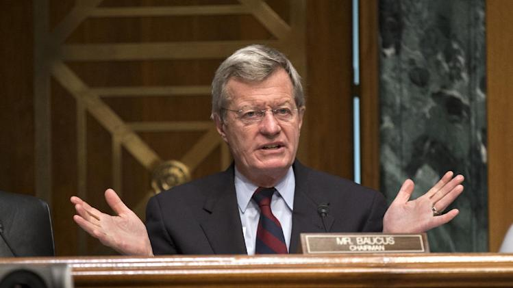 FILE - In this April 17, 2013 file photo, Senate Finance Committee Chairman Sen. Max Baucus, D-Mont. speaks on Capitol Hill in Washington. According to Democratic officials: The six-term Democratic Sen. Max Baucus plans to retire.  (AP Photo/J. Scott Applewhite, File)