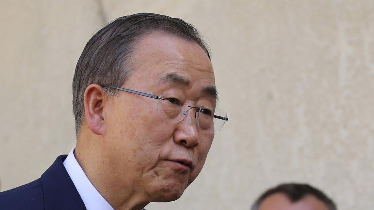 UN Secretary General Ban Ki-moon, speaks to the media after a meeting with Iraq's top Shiite cleric Grand Ayatollah Ali al-Sistani in Najaf