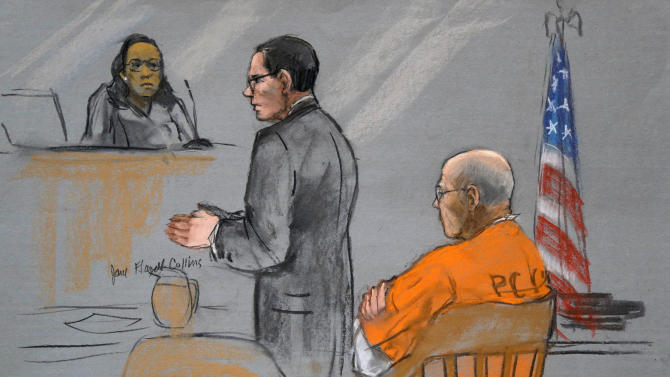 """A courtroom sketch depicts James """"Whitey"""" Bulger, right, as his attorney Henry Brennan, center, speaks during a pretrial conference before U.S. District Judge Denise Casper, left rear, in a federal courtroom in Boston Monday, June 3, 2013. Bulger is charged with playing a role in 19 murders. (AP Photo/Jane Flavell Collins)"""