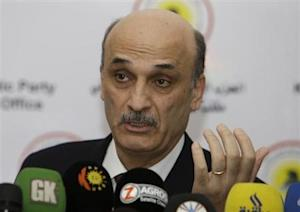 Geagea speaks at a news conference during his visit to Arbil