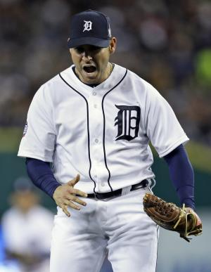 FILE - In this Oct. 27, 2012, file photo, Detroit Tigers starting pitcher Anibal Sanchez reacts after striking out San Francisco Giants' Brandon Belt during the sixth inning of Game 3 of baseball's World Series in Detroit. Sanchez agreed to an $80 million, five-year contract with the Tigers, a person familiar with the deal told The Associated Press on Friday, Dec. 14, 2012. (AP Photo/Matt Slocum, File)