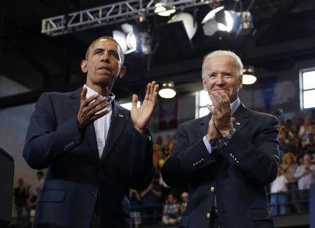 U.S. President Barack Obama and Vice President Joe Biden appear at an event in Biden's home town of Scranton