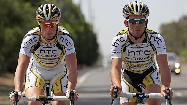 Mark Renshaw of Australia and Mark Cavendish of Great Britain of the HTC-Columbia Team take a training ride (AFP)