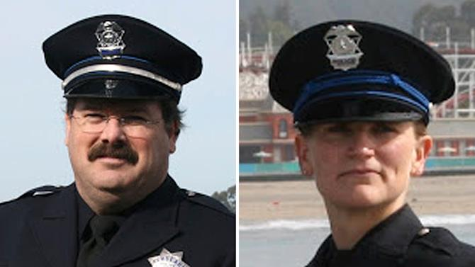 """This combo made from undated photos provided by the Santa Cruz Police Department shows Santa Cruz police Sgt. Loran """"Butch"""" Baker, left, and officer Elizabeth Butler. Baker and Butler were killed while responding to a sexual assault report Tuesday afternoon, Feb. 27, 2013 at the doorstep of a suspect who was chased down and killed half an hour later. (AP Photo/Santa Cruz Police Department)"""