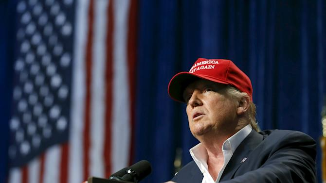 U.S. Republican presidential candidate Donald Trump speaks at a rally in Sarasota, Florida