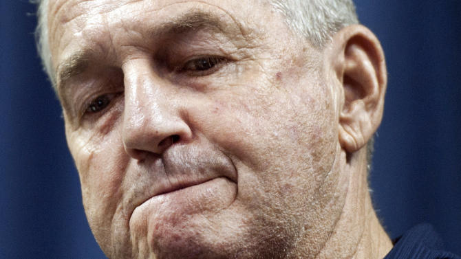 Connecticut head basketball coach Jim Calhoun reacts during a news conference in Storrs, Conn., Thursday, Sept. 13, 2012. Calhoun, who built Connecticut into a basketball power and coached the Huskies to three national titles, announced his retirement Thursday. (AP Photo/Jessica Hill)