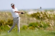 David Lynn of England hits off the sixth tee during the final round of the 94th PGA Championship at the Ocean Course, on August 12, in Kiawah Island, South Carolina. Lynn finished second after shooting a four-under 68 to finish at five-under 283