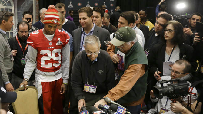 """San Francisco 49ers cornerback Chris Culliver (29) takes a seat to answer questions Thursday, Jan. 31, 2013, in New Orleans, regarding anti-gay remarks he made during Super Bowl media day Tuesday. Culliver apologized for the comments he made to a comedian during an interview, saying """"that's not what I feel in my heart."""" The 49ers are scheduled to play the Baltimore Ravens in the NFL Super Bowl XLVII football game on Feb. 3. (AP Photo/Mark Humphrey)"""