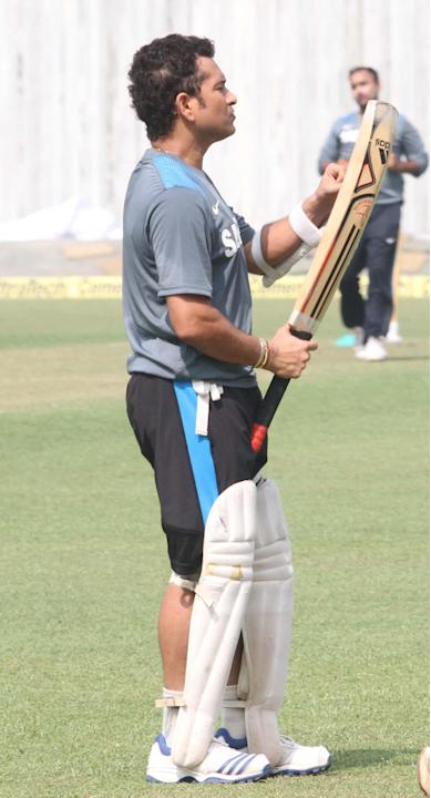 Indian cricketer Sachin Tendulkar during a practice session ahead of test match between India and West Indies starting on Nov 6 at Eden Gardens in Kolkata on Nov.5, 2013. (Photo: IANS)