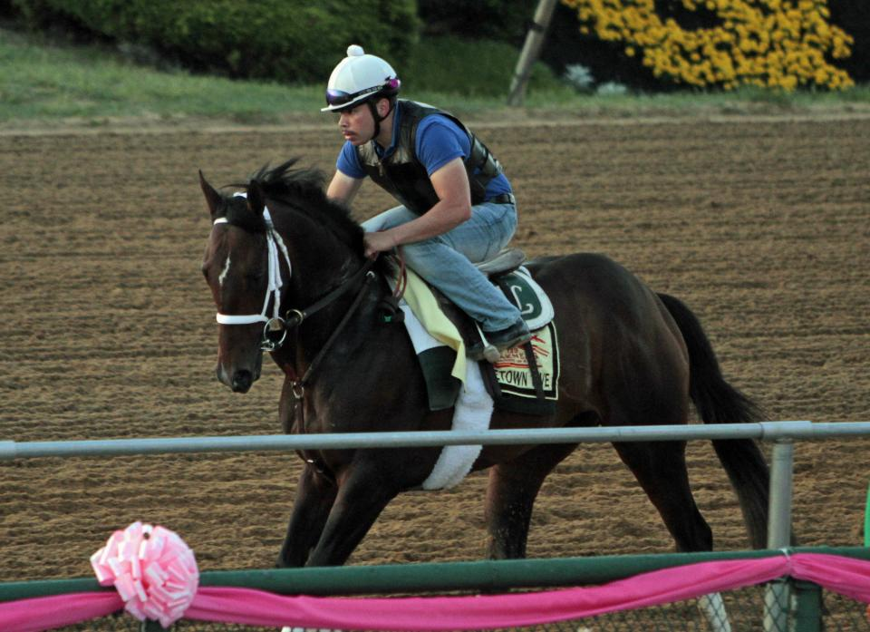 Exercise rider Rudy Quevedo brings Preakness Stakes entrant Titletown Five along the rail during a workout at Pimlico Race Course Friday, May 17, 2013 in Baltimore. The Preakness Stakes horse race is scheduled for Saturday.(AP Photo/Garry Jones)