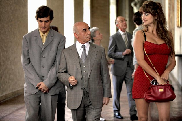 This film image released by Sony Pictures Classics shows, from left, Alessandro Tiberi as Antonio, Roberto Della Casa as Uncle Paolo and Penlope Cruz as Anna in a scene from &quot;To Rome With Love.&quot; (AP Photo/Sony Pictures Classics, Philippe Antonello)