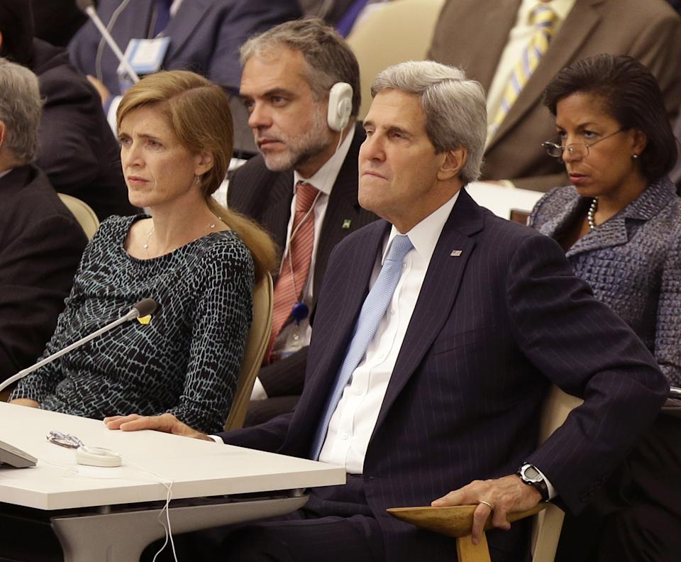 United States Ambassador to the United Nations Samantha Power, left, Secretary of State John Kerry, second from right, and National Advisor Susan Rice, right, listen while U.S. President Barack Obama speaks during the 68th session of the General Assembly at United Nations headquarters. (AP Photo/Seth Wenig)